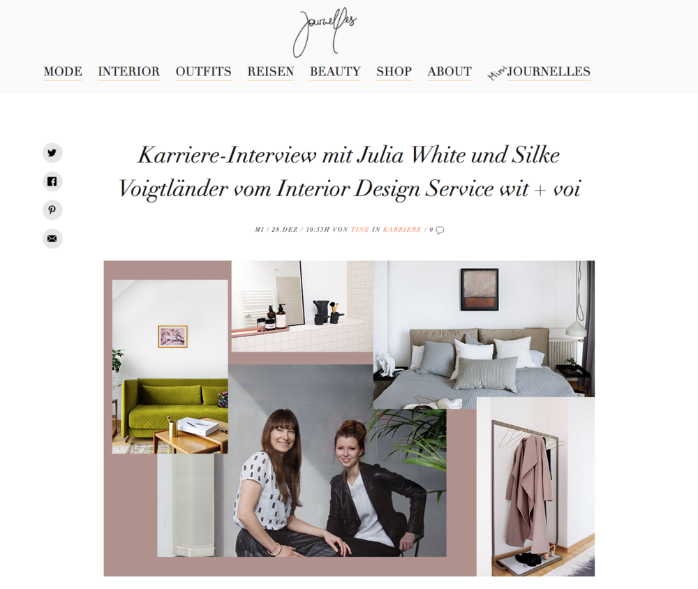Journelles - Karriere-Interview mit Julia White und Silke Voigtländer vom Interior Design Service wit + voi