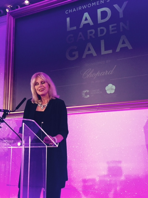Joanna Lumley giving a speech a the Lady Garden Gala