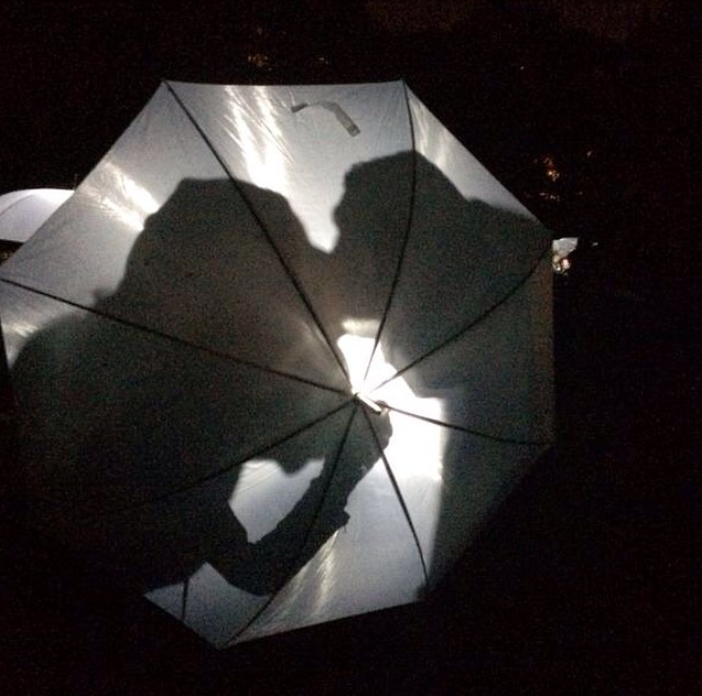 Elevelangs, 2014. Kulturbyræt Mesen and Carle Lang. 100 lighted umbrellas for social interaction.  More images here: https://www.flickr.com/photos/mesen/albums/72157648143653315