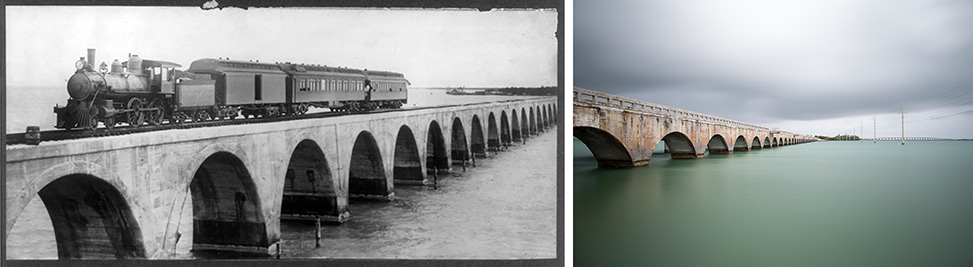 Then and Now: The long Key Bridge connecting Long Key and Conch Key. The bridge originally shouldered the Overseas Railroad from 1907 to 1935 before being used for highway traffic. The current bridge is used for foot traffic and the new US 1 runs parallel to the east.