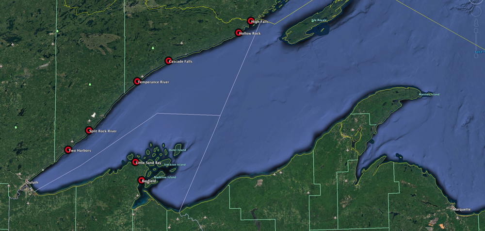 Lake Superior Collection image locations to date.