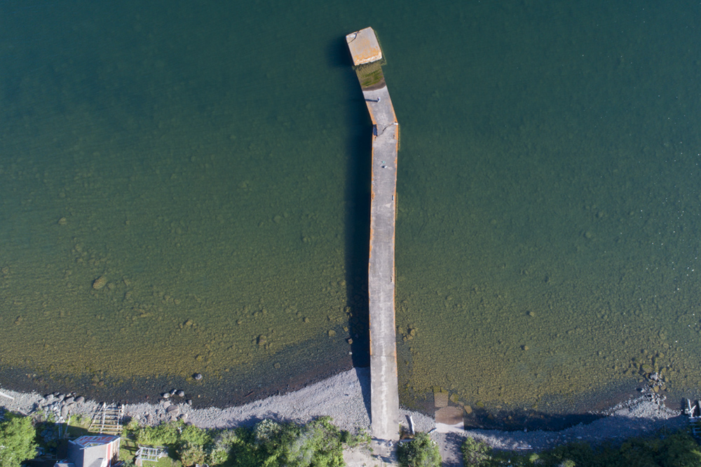 The old pier in Chicago Bay, shot from 300 ft AGL.