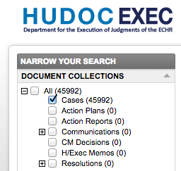 A screenshot of the HUDOC EXEC database front page