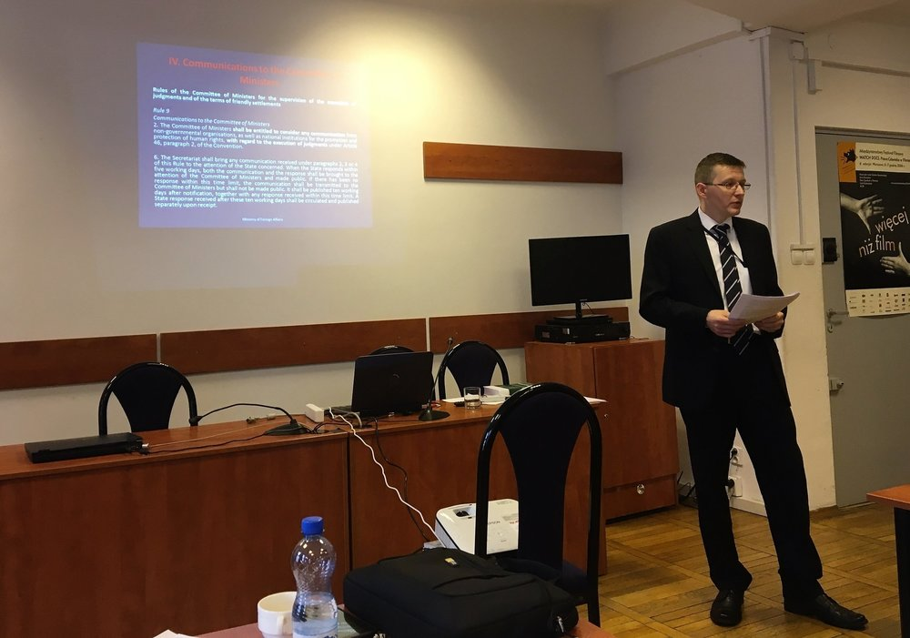 Presentation by Sebastian Kurek, Government Co-Agent for the Coordination of the Execution of Judgments, Ministry of Foreign Affairs, Poland. Photo: EIN