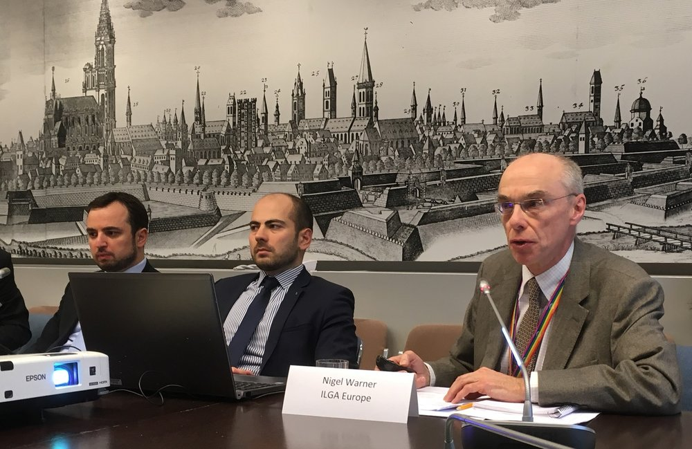 Nigel Warner from ILGA Europe reporting about the Alekseyev and Bayev v RF cases. Photo: EIN
