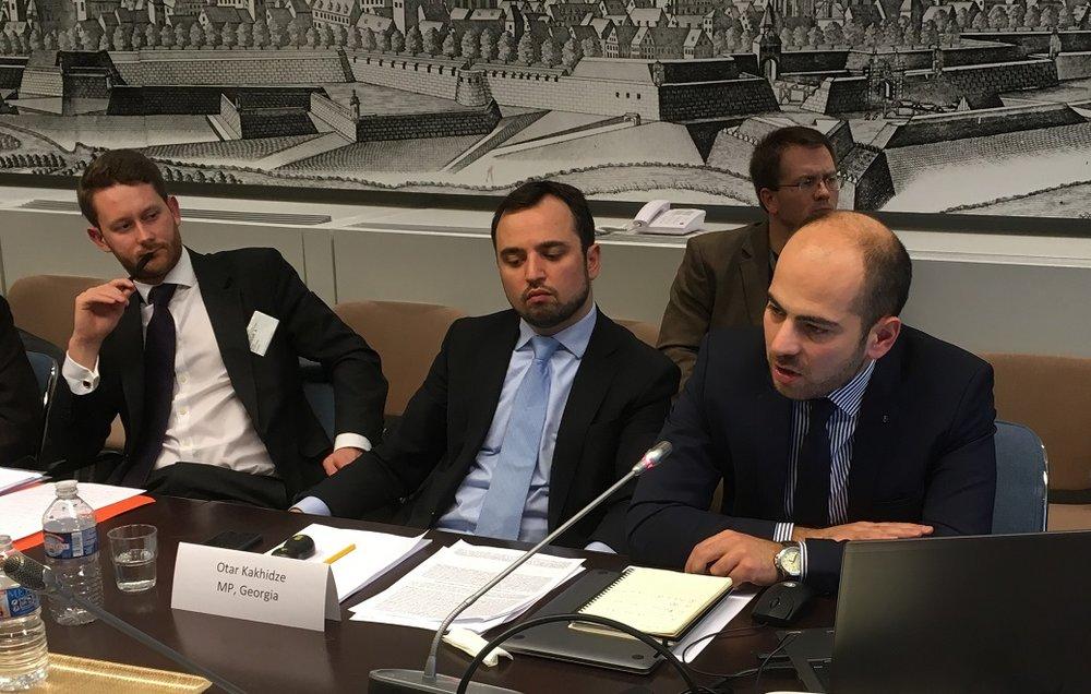 Georgian MP Otar Kakhidze and another Georgian MP updating on the Merabishvili case. Photo: EIN.