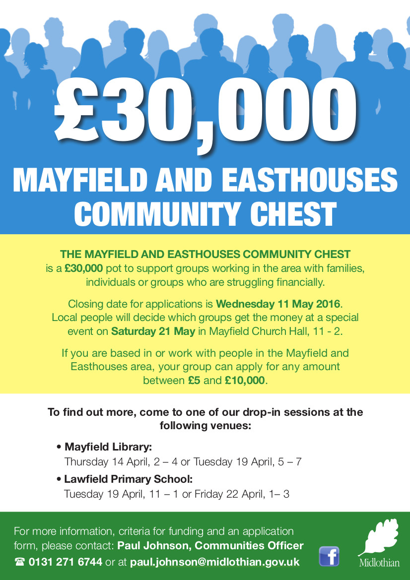 Mayfield and Easthouses Community Chest poster - click to enlarge.