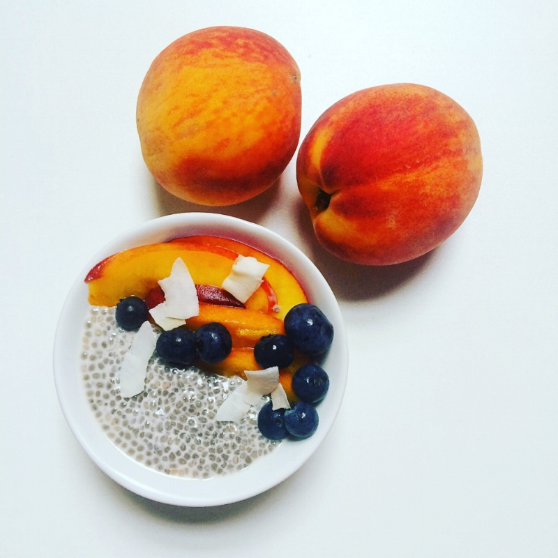 Almond Chia Pudding - with Georgia peaches & Treehouse Almond Milk