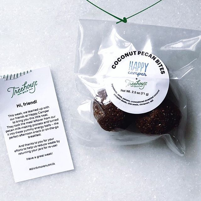 Pecans are the gift that keep on giving. These coconut pecan bites that @happycamperatl is making with our waste (that's not really waste) hit the spot every time. Add a packet to your next home delivery order or pick one up at a farmers market. ♻️ thanks for the pic, @communitykitchenatl
