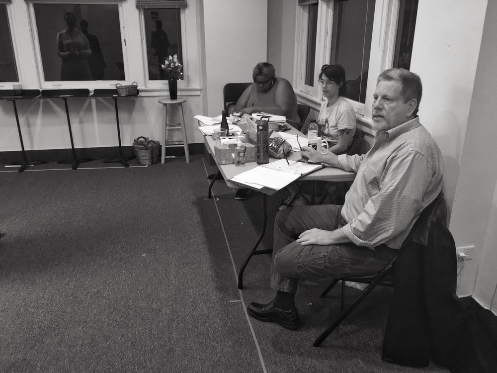 From front to back: Kevin, Stage Manager Terry Mittelman, Assistant Director Kasual Owens-Fields