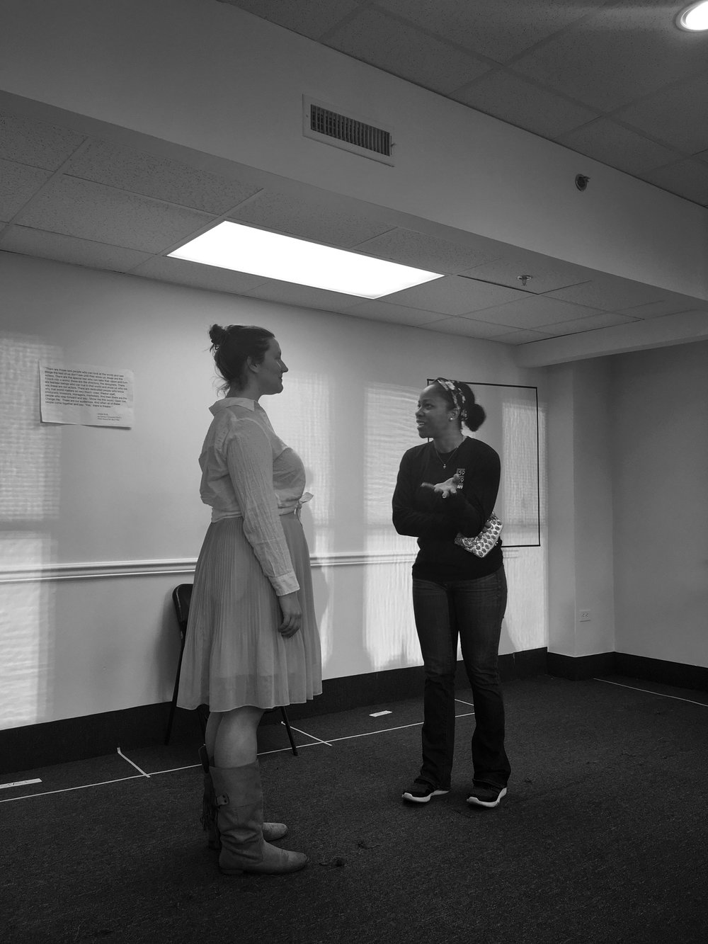 Danielle and Brandi Burgess (Holly) rehearse a scene