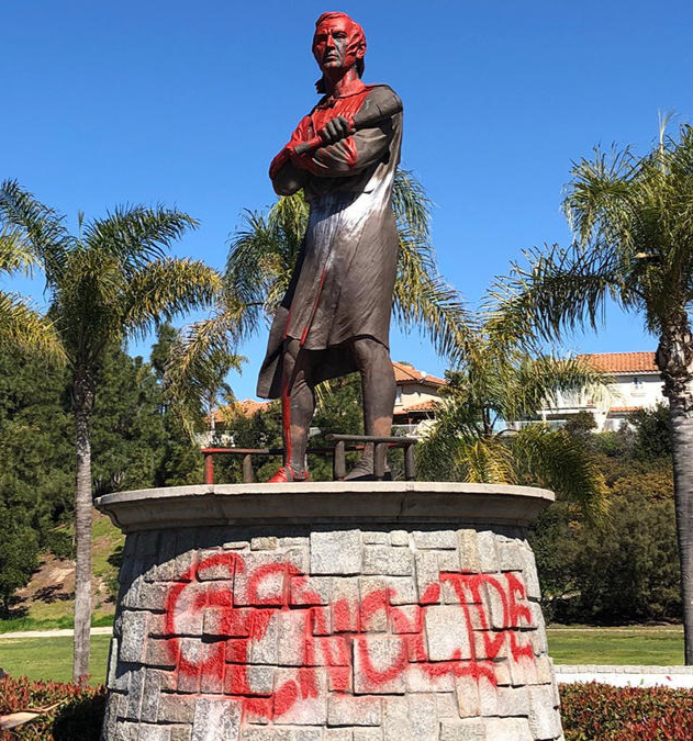 Vandalized statue of Columbus in San Diego