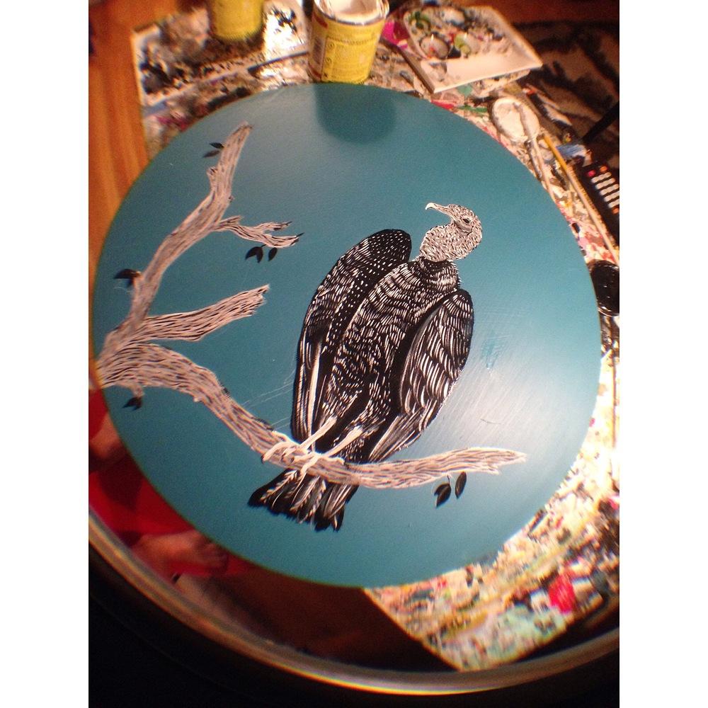 "Black Vulture, 1 shot paint on 16 x 16"" wood."