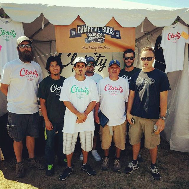 Had to post this pic of (some of) our grow team! The guys came out from Eastern WA all the way to Seattle Hempfest to help represent Clarity! We are anxiously awaiting for all your hard work to pay off! You are appreciated 👏 L-R Dustin, Jerry, Brad, Miguel, Raphael, Darren, and Jian. #teamworkmakesthedreamwork #hardwork💪#growers #clarity #campfirebuds #i502 #sungrown #cannabis #marijuana #co2oil