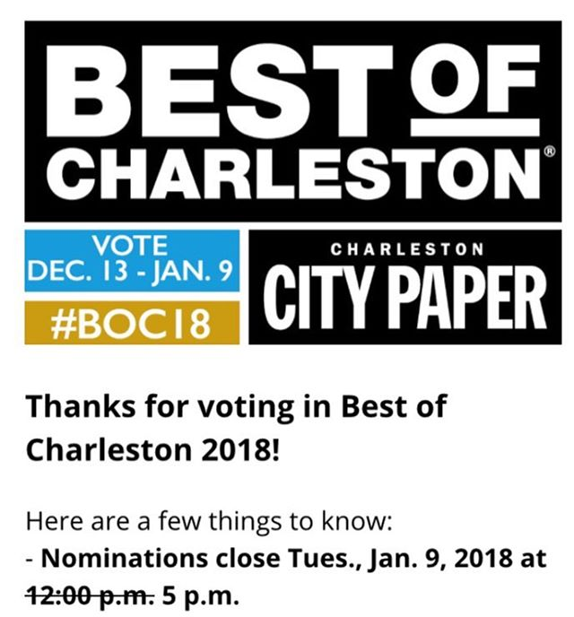 Voting has been extended til 5 o'clock tonight! So you still have time to vote for your favorite things about Charleston!! #beantobar #charleston #chocolate #bestofcharleston