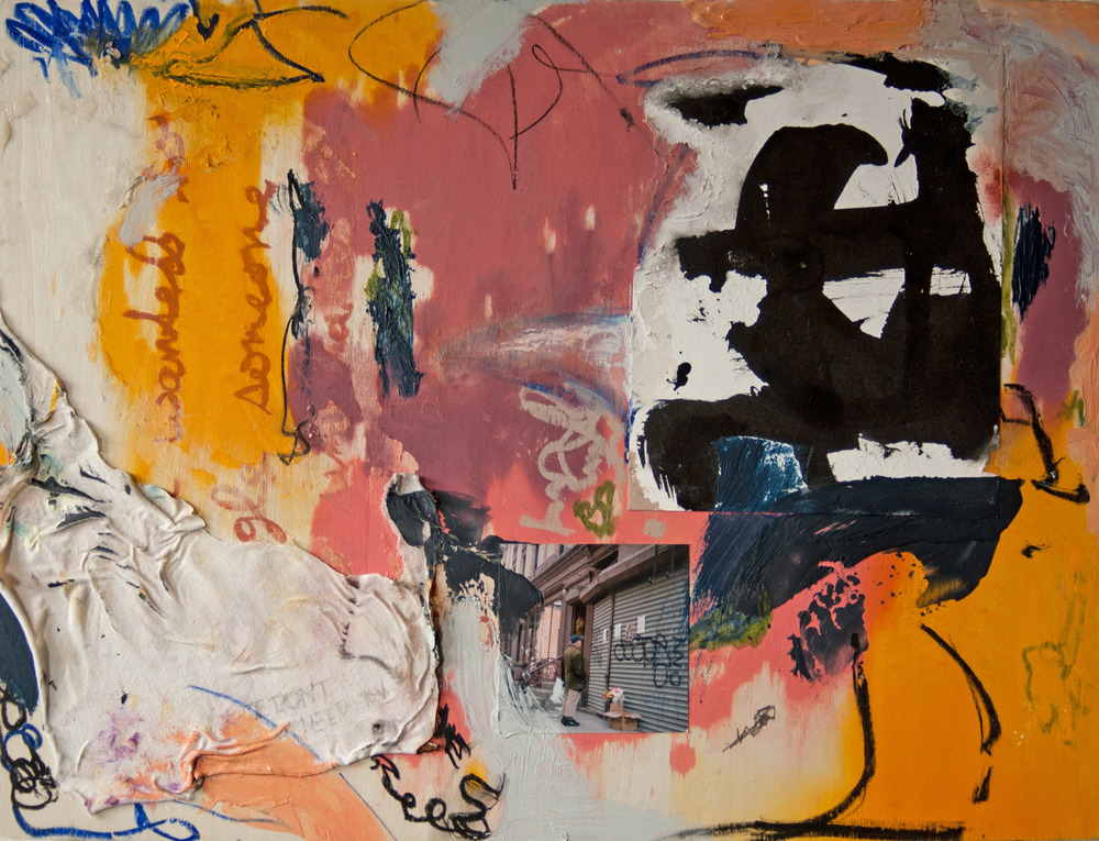 "number 4 , New York City, 2015  oil, crayon, ink, graphite, oil pastel, oilstick, t-shirt, paper, and c print on wood  18""x24"""