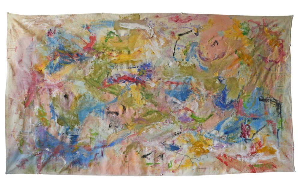 """it's always been shady on my side of the house , NYC, 2016  oil,graphite, &oil pastel on canvas  45""""x81"""""""