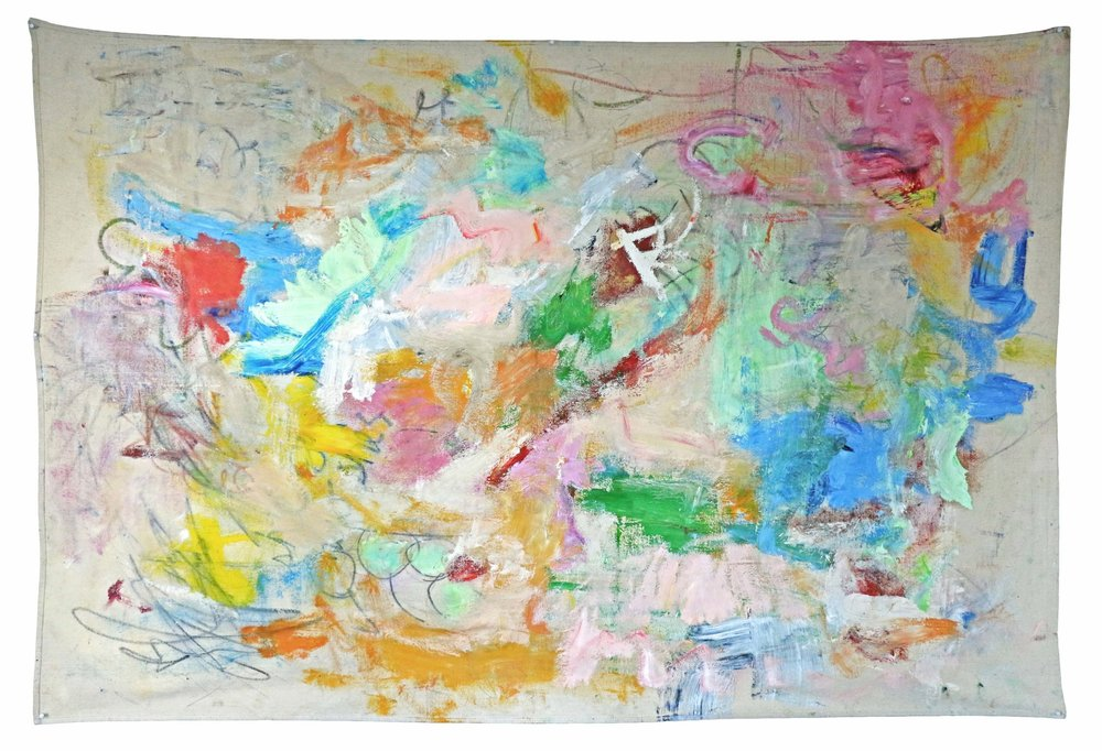 """balloon room , NYC, 2016  oil, graphite, and oil pastel on canvas  48""""x72"""""""