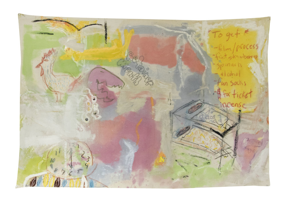 "morning chatter , New York City, 2016-17  oil, graphite, oil pastel, & crayon on canvas  48""x72"""