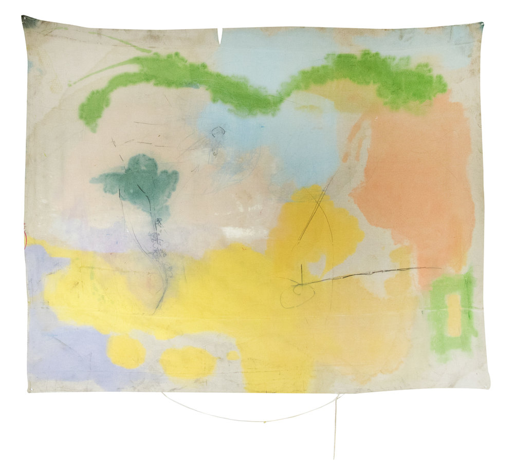 """untitled II (yellow drops) , los angeles, 2017  oil and oil pastel on canvas  66""""x82"""""""