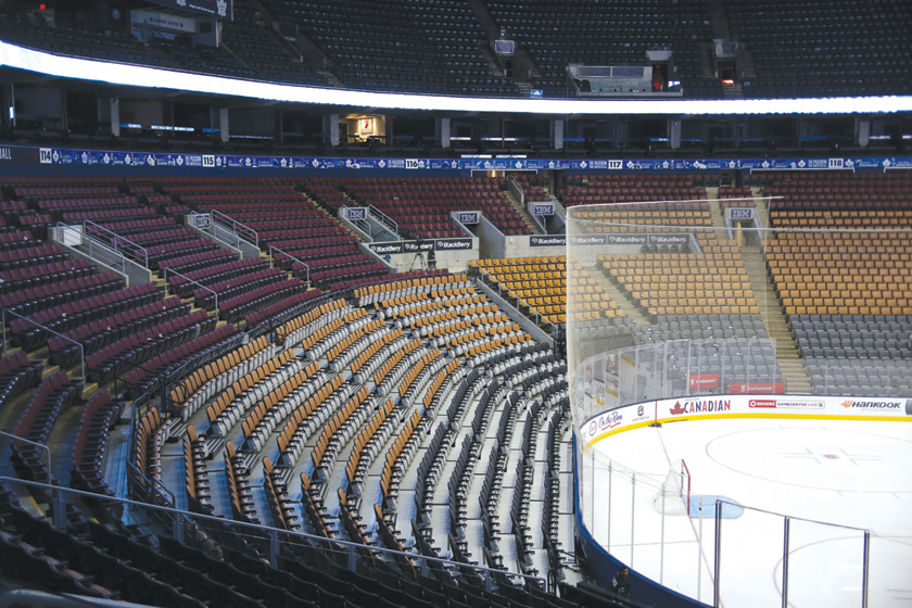 Sideview professional hockey stadium seating