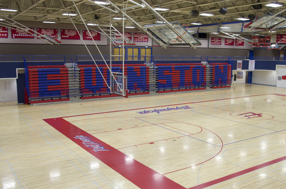 Gym bleacher with logo