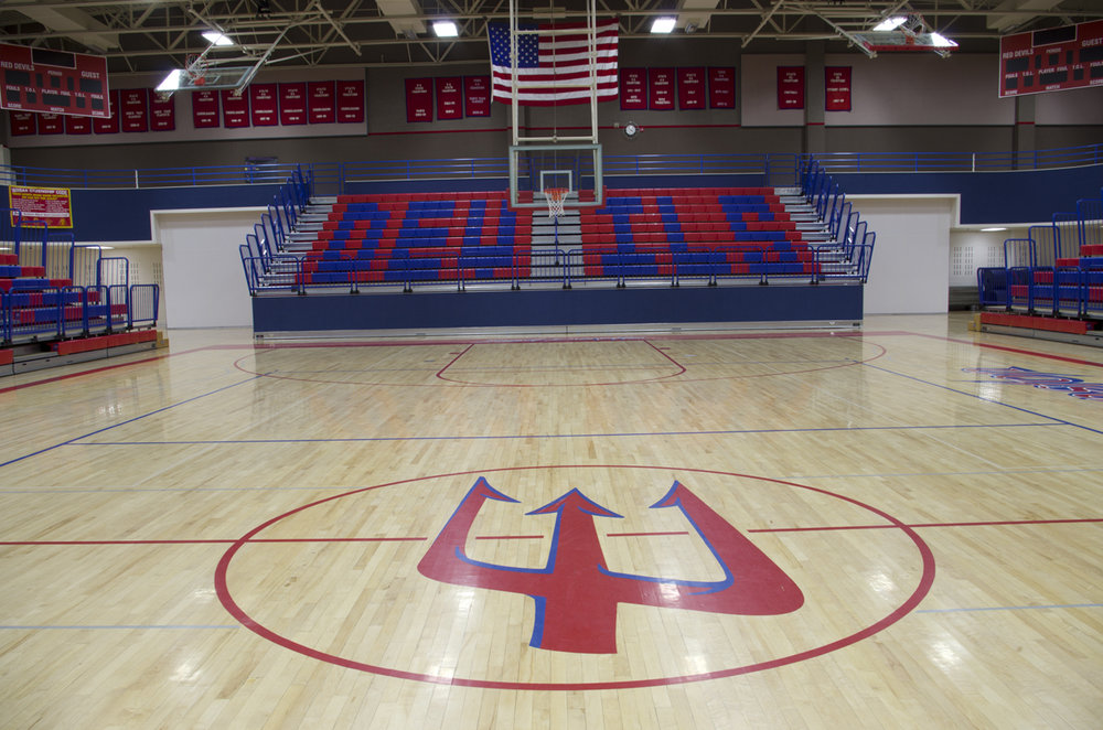 Evanston High School gymnasium bleachers