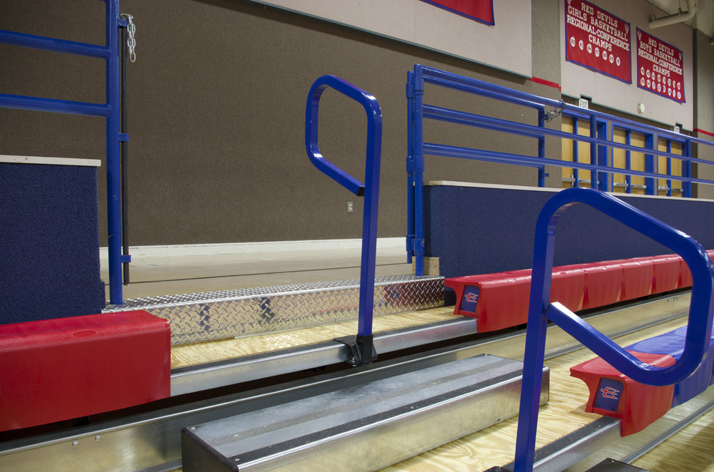 Focus on top aisle rails in Evanston High School
