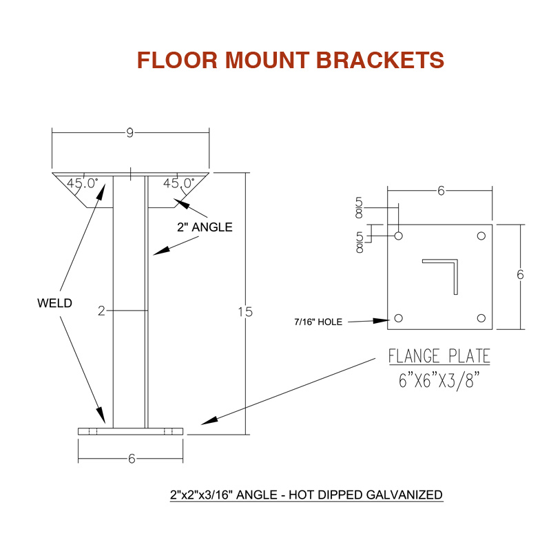 Floor Mount Brackets