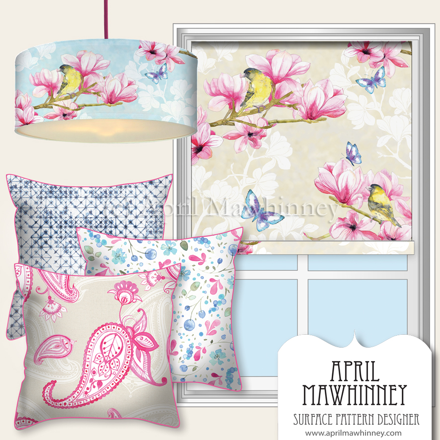 Oriental Magnolia Surface Pattern Design Collection