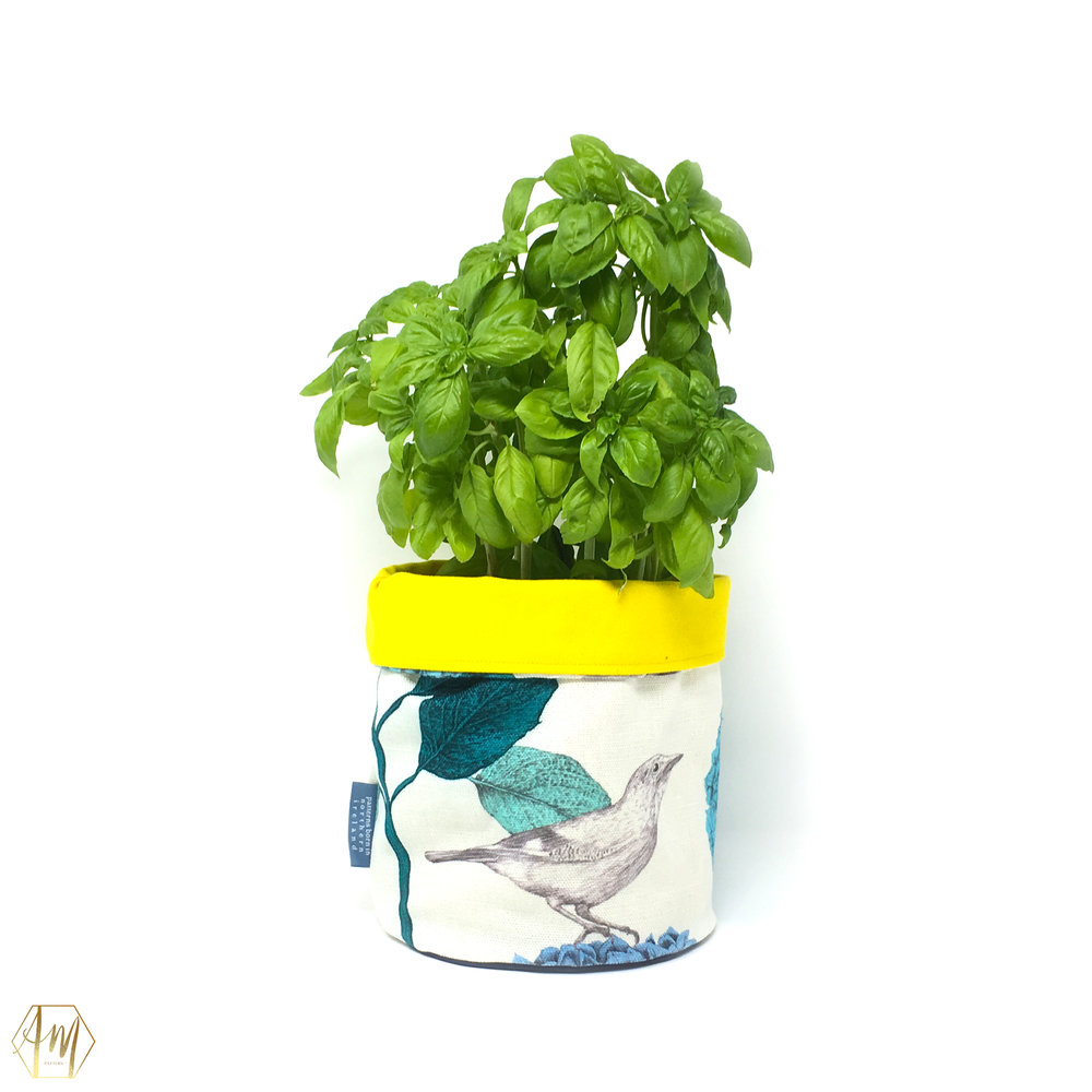 APRIL MAWHINNEY | LINEN PLANT POT | IRISH LINEN | GIFT RANGE | LOUGH CUAN| TEXTILE DESIGN | ILLUSTRATION | SURFACE PATTERN DESIGN