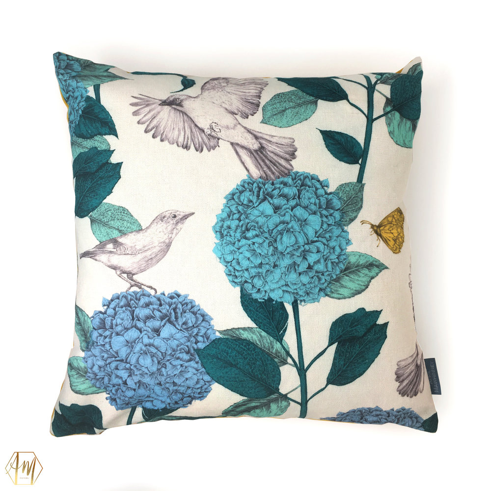 £87.50 LOUGH CUAN TEAL GARDEN LINEN CUSHION | home decor | digitally printed linen and Linwood velvet | illustrated hydrangeas & jays | Illustrator | surface Pattern Design | fabric designer | uk designer Maker