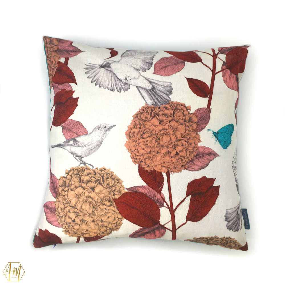 £87.50 LOUGH CUAN SUNSET GARDEN LINEN CUSHION | home decor | digitally printed linen and Linwood velvet | illustrated hydrangeas & jays | Illustrator | surface Pattern Design | fabric designer | uk designer Maker