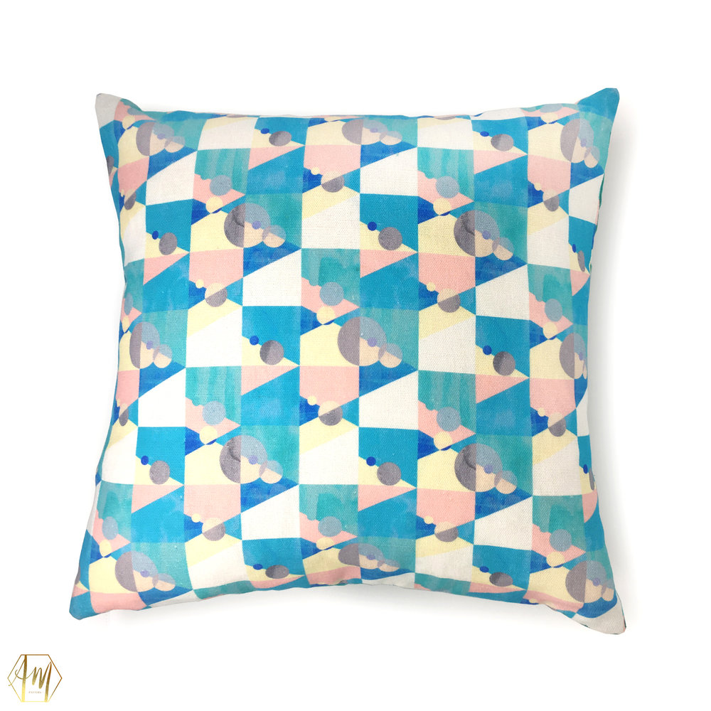£87.50 KILLYLEAGH LINEN CUSHION | home decor | digitally printed linen and Linwood velvet | illustrated hydrangeas & jays | Illustrator | surface Pattern Design | fabric designer | uk designer Maker