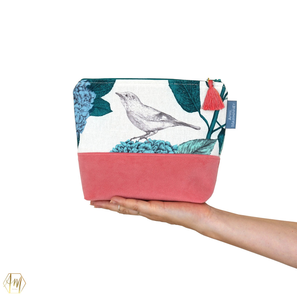 LOUGH CUAN GARDEN LINEN & VELVET COSMETIC BAG | APRIL MAWHINNEY DESIGN STUDIO | ILLUSTRATION | LINEN FABRIC | COSMETIC BAGS | HANDMADE| IRISH DESIGNER | NORTHERN IRELAND