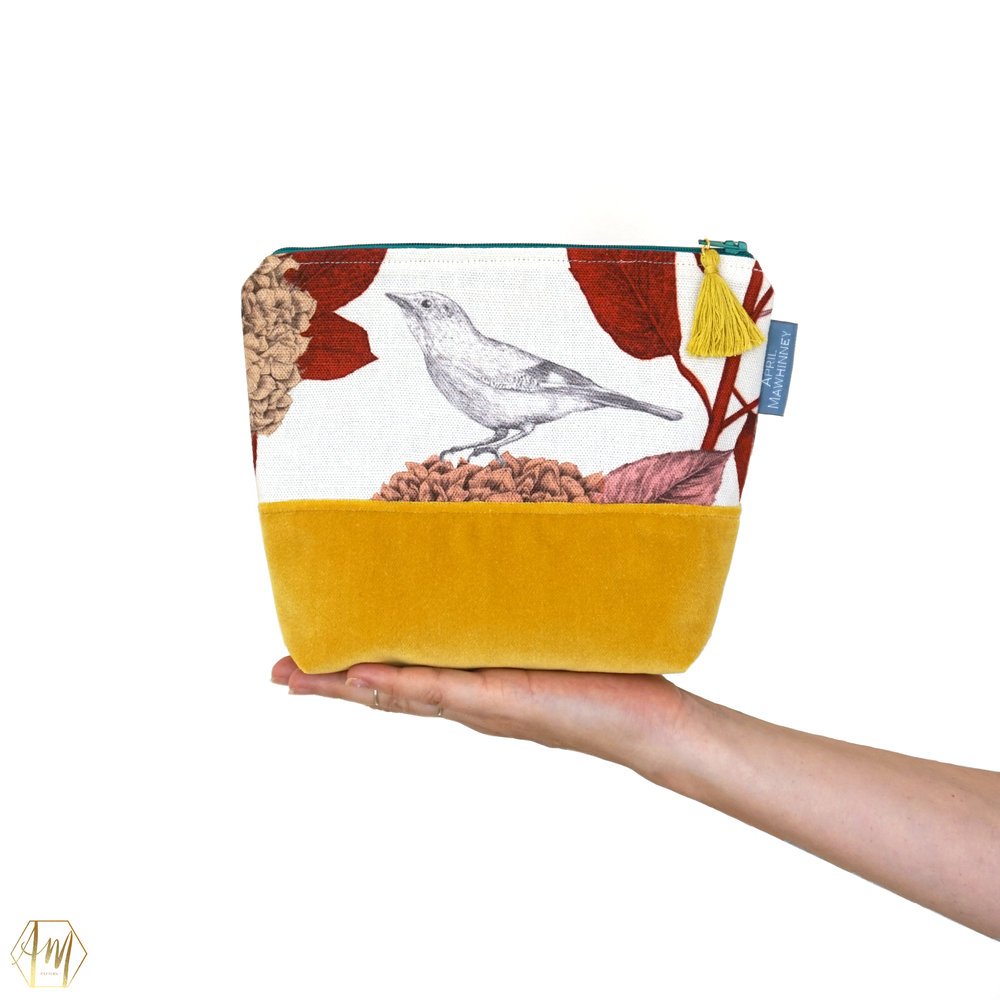 LOUGH CUAN SUNSET GARDEN LINEN & VELVET COSMETIC BAG | APRIL MAWHINNEY DESIGN STUDIO | ILLUSTRATION | LINEN FABRIC | COSMETIC BAGS | HANDMADE| IRISH DESIGNER | NORTHERN IRELAND