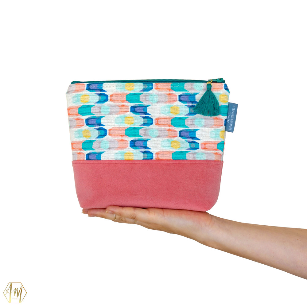 STRANGFORD LOUGH LINEN & VELVET COSMETIC BAG | APRIL MAWHINNEY DESIGN STUDIO | ILLUSTRATION | LINEN FABRIC | COSMETIC BAGS | HANDMADE| IRISH DESIGNER | NORTHERN IRELAND