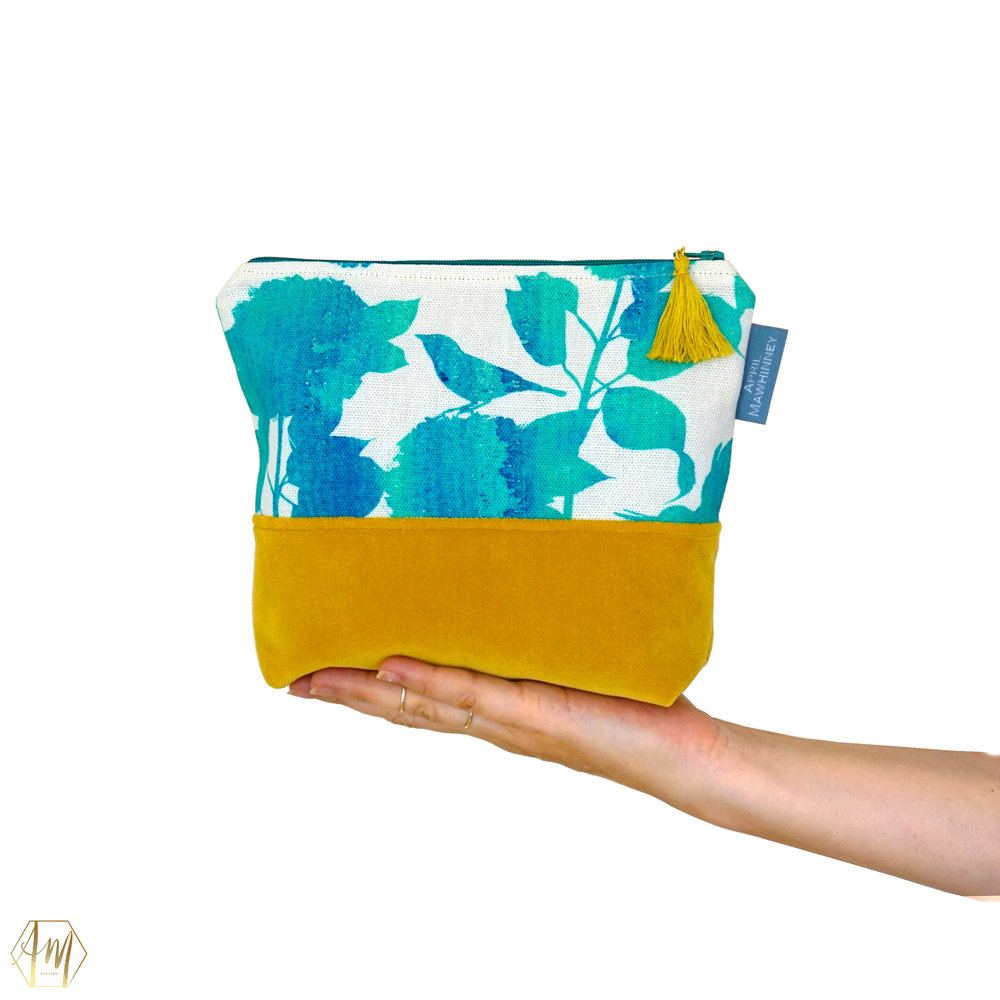 TEMPLE WATER LINEN & VELVET COSMETIC BAG | APRIL MAWHINNEY DESIGN STUDIO | ILLUSTRATION | LINEN FABRIC | COSMETIC BAGS | HANDMADE| IRISH DESIGNER | NORTHERN IRELAND