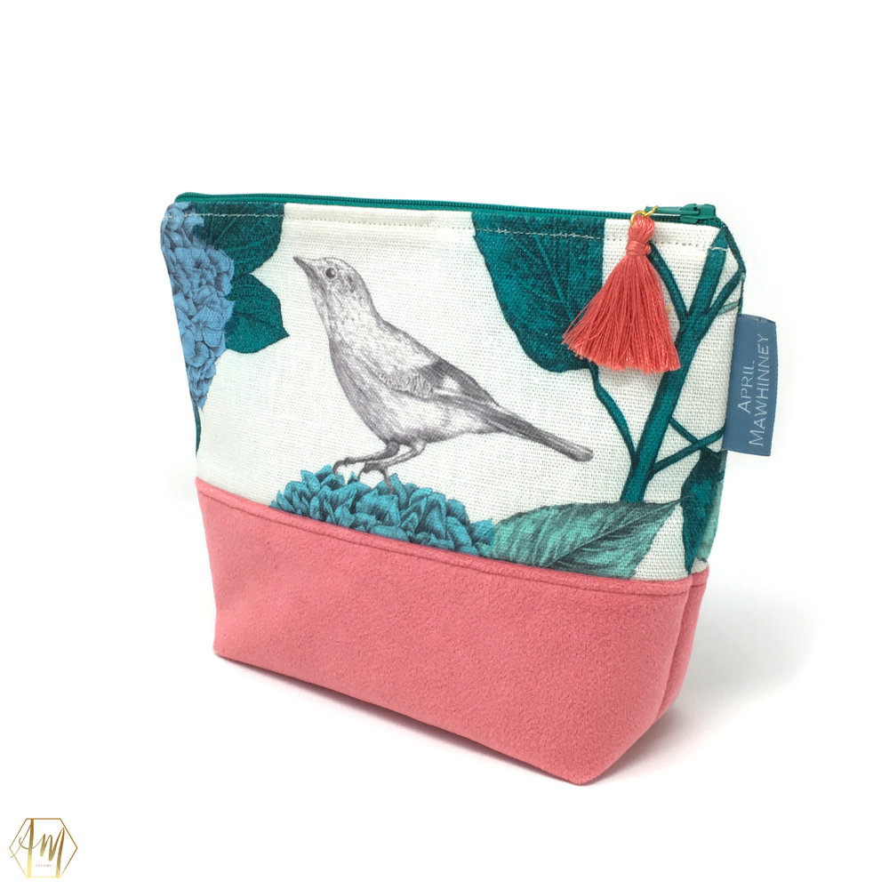 LOUGH CUAN TEAL GARDEN LINEN & VELVET COSMETIC BAG | APRIL MAWHINNEY DESIGN STUDIO | ILLUSTRATION | LINEN FABRIC | COSMETIC BAGS | HANDMADE| IRISH DESIGNER | NORTHERN IRELAND