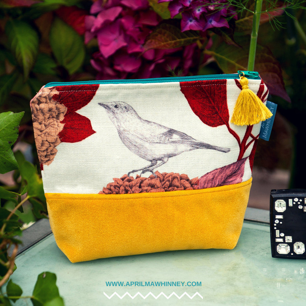 Lough Cuan Cosmetic Bag| Linen & Velvet Giftwares | April Mawhinney Design Studio | Botanical Fabric | Hydrangea Fabric | Jay Bird Fabric | Textile Design | Illustrated Fabric