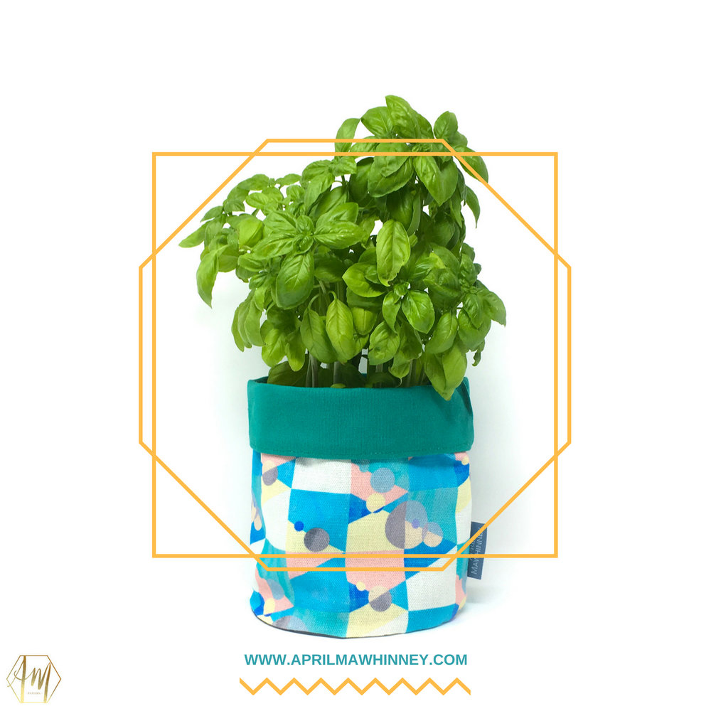 Killyeagh Linen Plant Pot | Linen Plant Pot | April Mawhinney Design Studio | Botanical Fabric | Hydrangea Fabric | Jay Bird Fabric | Textile Design | Illustrated Fabric