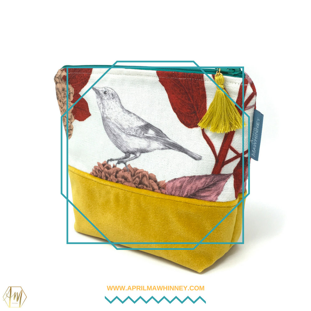 Lough Cuan Cosmetic Bags | Linen & Velvet giftware | April Mawhinney Design Studio | Botanical Fabric | Hydrangea Fabric | Jay Bird Fabric | Textile Design | Illustrated Fabric