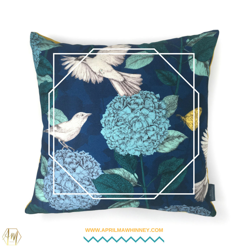 Lough Cuan Cushions | Linen & Velvet Homewares | April Mawhinney Design Studio | Botanical Fabric | Hydrangea Fabric | Jay Bird Fabric | Textile Design | Illustrated Fabric
