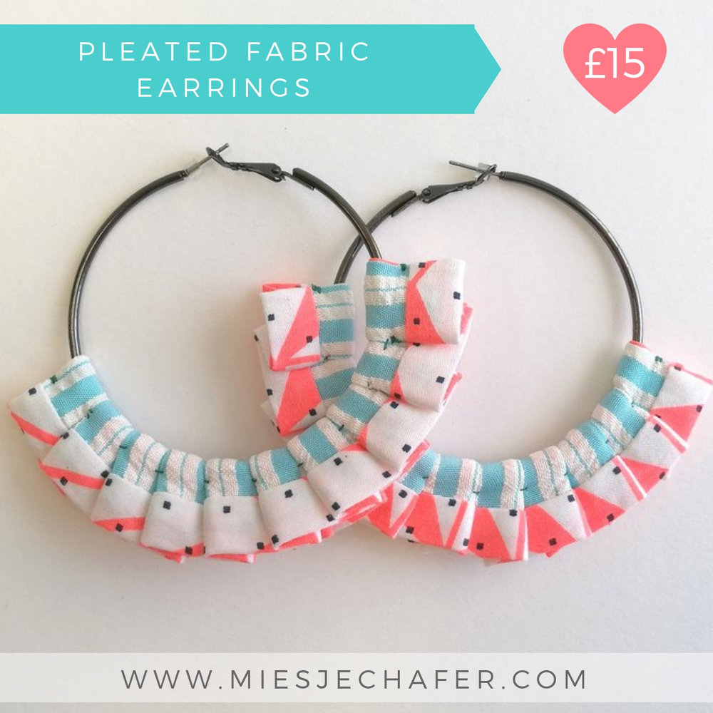 Fabric Pleated Earrings | Screen Printed Fabirc | Gift Guide | Miesje Chafer
