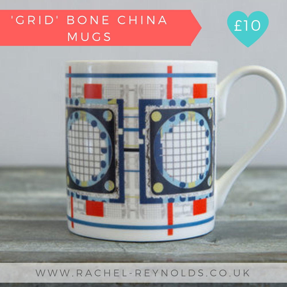 Grid Bone China Mug | Rachel Reynolds | Christmas 2018 Designer Maker Gift Guide
