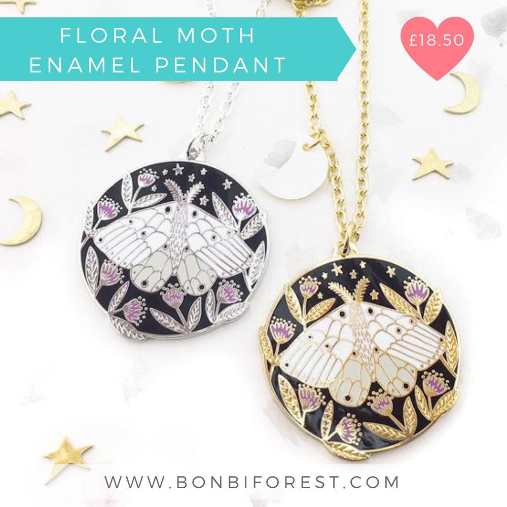 Floral Moth Enamel Pendant | Bonbi Forest | Christmas 2018 Designer Maker Gift Guide