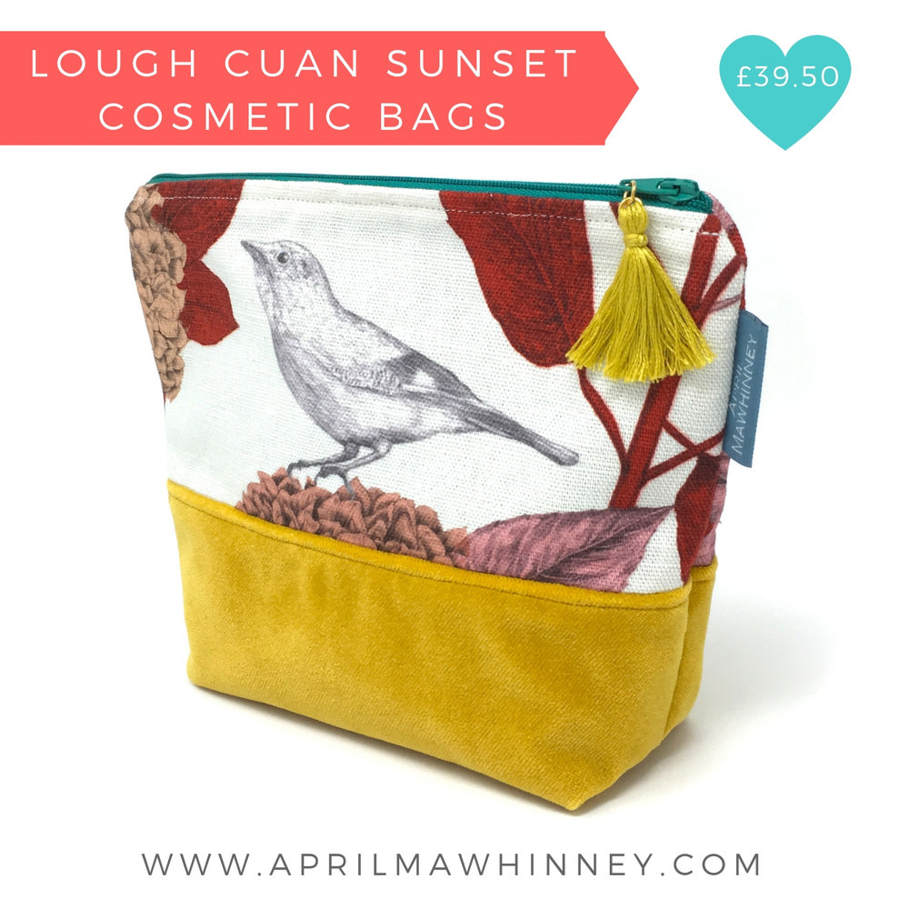 Lough Cuan Linen and Velvet Cosmetic Bags | April Mawhinney Design Studio | Christmas Designer Maker 2018 Gift Guide