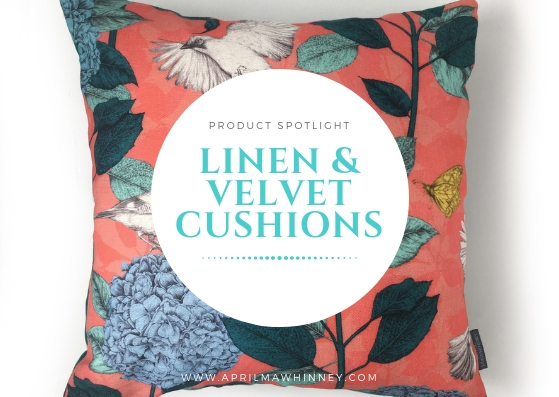 £87.50 LOUGH CUAN BLUSH GARDEN LINEN CUSHION | home decor | digitally printed linen and Linwood velvet | illustrated hydrangeas & jays | Illustrator | surface Pattern Design | fabric designer | uk designer Maker