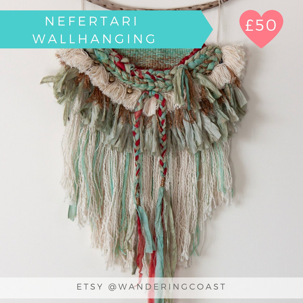 NEFERTARI WALLHANGING | SARI SILK TAPESTRY WALLHANGING | WANDERING COAST COLLECTIVE