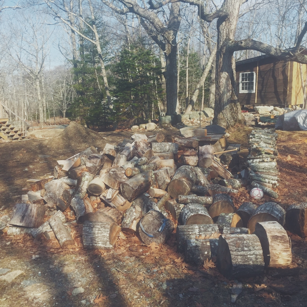 Spring  - So our little cabin is coming along, but not before we tend to the fire wood stash necessary for 2017. We joke here in Maine about the seasons and how they each require some sort of interaction with wood storage.